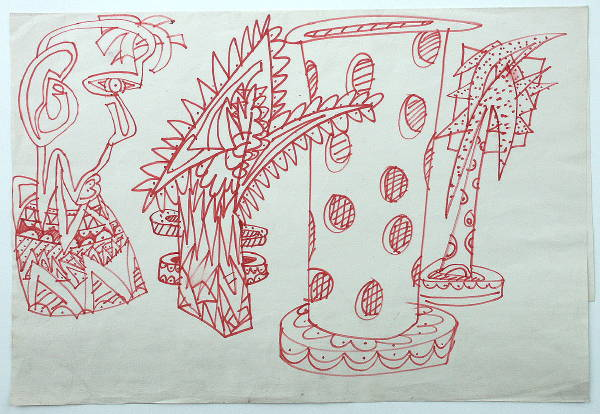 Sketches in red pen, c.1983?