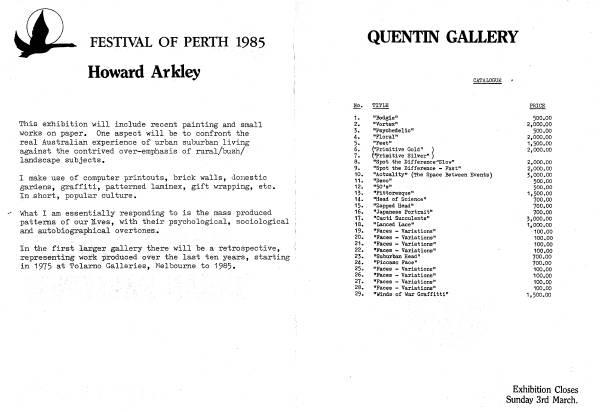 Quentin 1985 check-list
