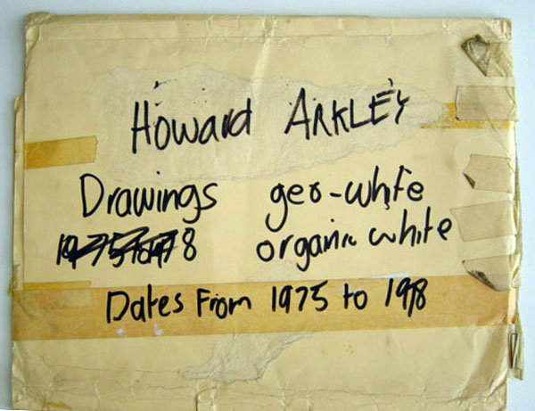 Arkley's annotations on folder of studio drawings